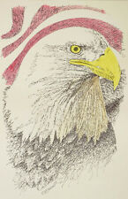American Bald Eagle Signed Art Portrait Drawn from the words, God Bless America.