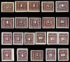 Canada #J1-#J20 Postage Due 1906-65 Mint Lot 19 items CV $389