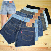 Levis Vintage 501 Womens High Waisted Denim Shorts Hotpants Size 6 8 10 12 14 16