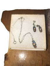 Inlay Necklace & Earrings Set Native American Sterling Silver Zuni