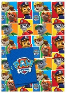 Official PAW PATROL 2 x Gift Wrapping Sheets & 2 x Tags **FREE UK POSTAGE**