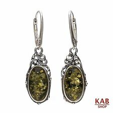GREEN BALTIC AMBER STERLING SILVER 925 JEWELLERY EARRINGS. KAB-155