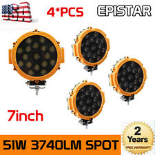 4X 7inch 51W Round LED Work Light Yellow Spot Lamp OffRoad Truck 4WD Boat Slim