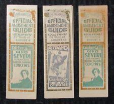 1930's San Francisco OFFICIAL AMUSEMENT GUIDE Fold-Outs VG+/FN- LOT of 3