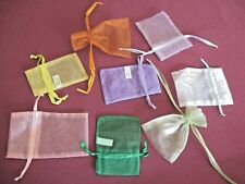 LOT 8 sheer organza mesh drawstring GIFT bags different colors *SMALL free US sh