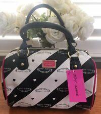 NWT Betsey Johnson Satchel BB16950 Handbag Black Cream Stripe MSRP $98