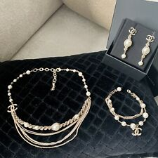 Chanel pearl Necklace, Bracelet, Earrings Matching Set