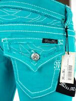 """$108 Miss Me Jean """"Emerald Peacock"""" Sizes 24, 25, 26, 27, 28, 29, 30, 31, 32, 33"""