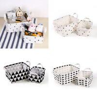 Folding Fabric Basket Desk Storage Box Linen Cotton Cosmetic Case Organizer