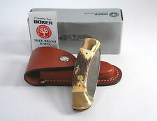 Boker Tree Brand Classic 4000 Stag Handle Folding Knife W/ Sheath & Box Exc Cond
