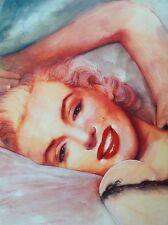 Marilyn Monroe-mano firmado retrato de arte de alta calidad de impresión Estrella Pinup actriz