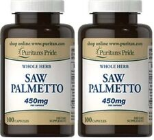 2x Saw Palmetto 450 MG X 100 (200) Capsule Whole Herb ** INCREDIBILE PREZZO **