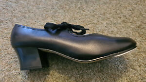 Black Leather Roch Valley PVC TCB Dance Tap Shoes Size UK 1