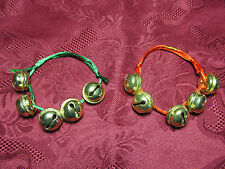 Set Of 2 Red Green Jingle Bells Christmas Holiday Wrist Bracelet