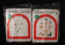 VTG '83 Lot of 2 Canvas Capers 5 Straw Ornaments 443 & Reindeer Mobile 448 NOS