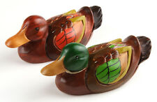"6.7"" Korean Traditional Wedding Mandarin Ducks Wooden Sculpture Special Gift"