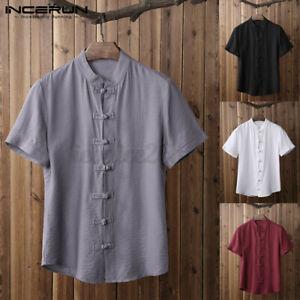 INCERUN Mens Chinese Smart T Shirt Kung Fu Causal Slim Fit Blouse Tops Shirt UK