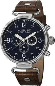 August Steiner AS8131BU Swiss Quartz Day Date GMT Brown Leather Strap Mens Watch