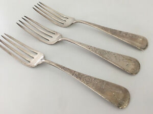 Sterling Silver WK Vanderslice Antique Wheat 3 Dinner Forks Louise Antique SF CA