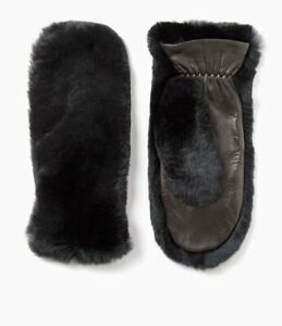 Womens  Stunning Joseph Black Luxe Fur Rex Mittens Raccoon & Leather RRP £245.00