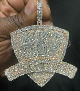 14k White Gold Over Men's 5.67ct Round Simulated Diamond Big Pendant Silver 925