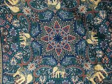 Elephant Scarf Neck Head Wrap Purple Blue Mandala Floral Paisley Italy 33 x 33