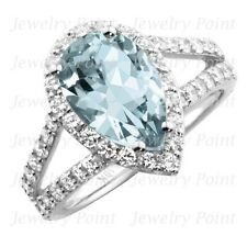 Pear-Shaped Blue Aquamarine Diamond Halo Engagement Bridal Ring 14k White Gold