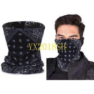 2PCS Black Multi-use Tube Scarf Bandana Head Face Mask Neck Gaiter Snood Wear