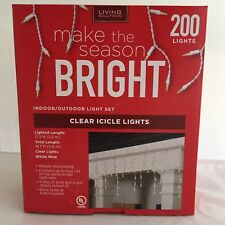 Living Solutions 200 Clear Icicle Lights Nib
