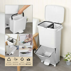 2 Tier Mobile Rubbish Bin 38L Recycle Pedal Waste Trash Can Kitchen Garden UK
