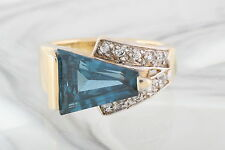 UTC GOLDTONE OVER STERLING BLUE TOPAZ CLEAR CRYSTALS RING SIZE 7 1/2 925 0043