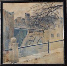 Viktor Frank, Hall in Tirol, Herbststimmung, 1917, Originalrahmen