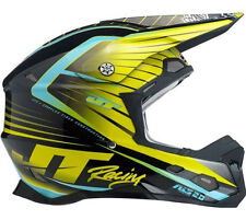 JT RACING ASL-2 MOTOCROSS MX ENDURO BIKE HELMET BLACK / CHARTREUSE / CYAN