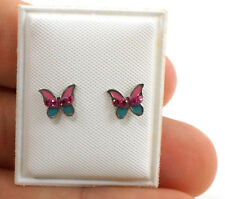 Bling Jewelry 925 Silver Butterfly Color Baby Safety Screw back Earrings