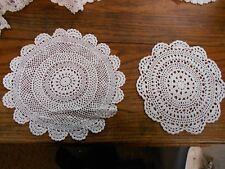 2 white Vintage Hand Crochet crocheted Doilies scalloped edge pattern