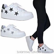 Scarpe donna Sneakers Stelle Glitter Ginnastica Platform Zeppa 3,5 Stringate A10