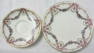 AYNSLEY Saucer & Plate Roses Swags & Lilac Ribbons, Gilding c1891+