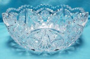 "Vintage 1950s Cut Crystal 6"" Candy Dish Sawtooth Edge 2-1/2"" Deep MINT"
