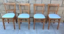 4 VINTAGE RETRO BEECH WOODEN DINING CHAIRS ~ SHABBY CHIC PROJECT