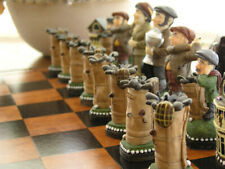 Mascott Chess - Golf Hand Painted Chess Set -With Wooden Board.Great.