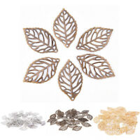 50Pcs Gold Charm Filigree Hollow Leaves Pendant DIY Jewelry Making Accessories