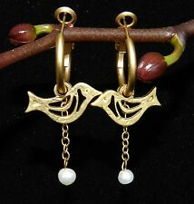 Yellow Gold 24K Plated Hoop Earrings w Bird Dove Pigeon Charms & White Stone