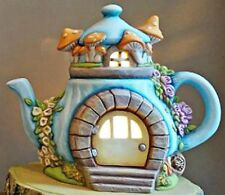 CERAMIC BISQUE CHARMING TEAPOT FAIRY COTTAGE 'ROSES'~LIGHT  INCL~ READY TO PAINT