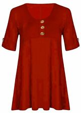 Ladies 3 Button Turn up Sleeve Flared Skater Top Dress 8-22 Red 20-22