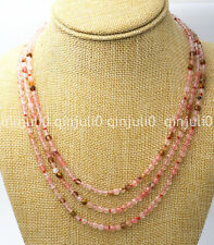 Natural 3 rows 4mm faceted multicolor watermelon tourmaline Jewelry necklace
