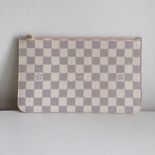LOUIS VUITTON neverfull zip clutch pouch damier azur white pink rose ballerine