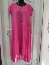 Neue italienische Verband Fuchsia Rosa T Shirt Baumwolle/Leinen Kleid UK 14 16 18