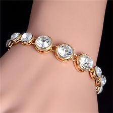 Hot Women 18K Gold Plated Round Shiny Australian Crystal Adjustable Bracelet New