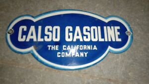 """Porcelain Calso Gasoline Enamel Sign Size 6"""" x 4"""" Inches"""