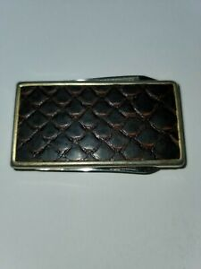 Vintage  Gold-Tone Leather Money Clip with Folding Knife and File